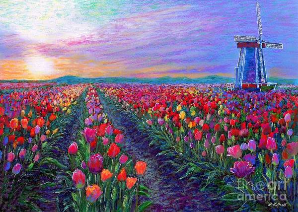 Field Of Flowers Wall Art - Painting -  Tulip Fields, What Dreams May Come by Jane Small