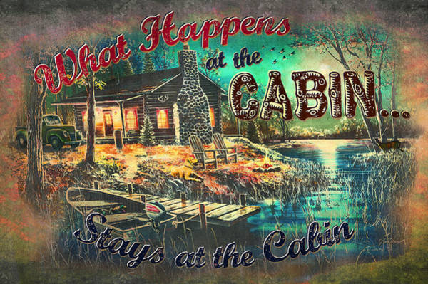 Painting - What Happens At Cabin by JQ Licensing