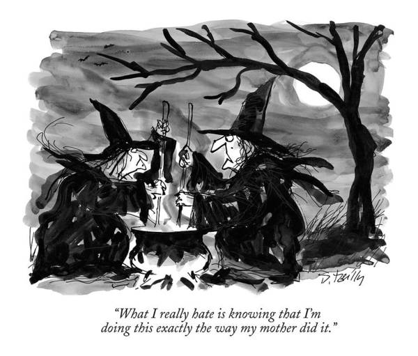 Halloween Drawing - What I Really Hate Is Knowing That I'm Doing This by Donald Reilly