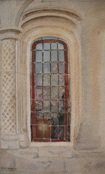 Leaded Glass Painting - What Is Behind The Window Pane by Mary Ellen Mueller Legault