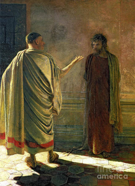 Pontius Pilate Wall Art - Painting - What Is Truth    Christ And Pilate by Nikolai Nikolaevich Ge