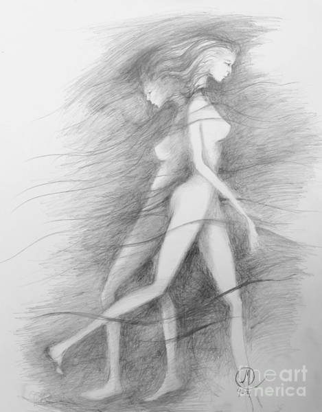 Drawing - What Lies Within My Shadow by Marat Essex