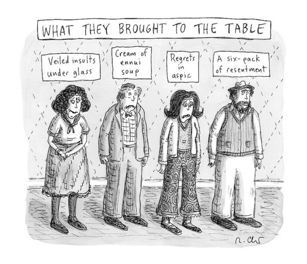 Line Up Drawing - What They Brought To The Table -- A Line by Roz Chast