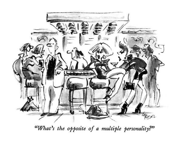 November 11th Drawing - What's The Opposite Of A Multiple Personality? by Lee Lorenz