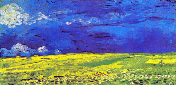 Digital Art - Wheat Field Under A Stormy Sky by Vincent Van Gogh