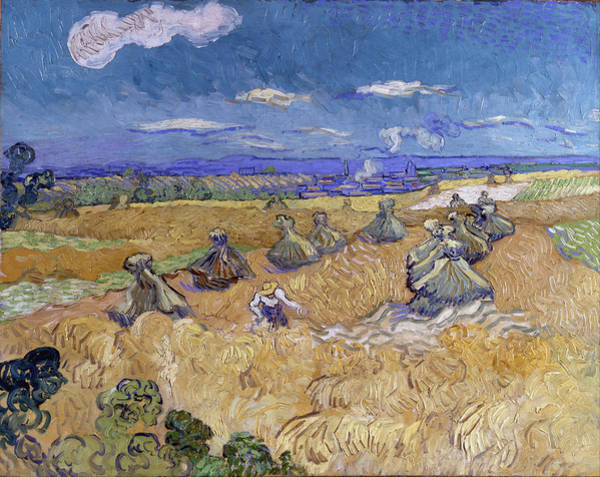 Painting - Wheat Stacks With Reaper by Vincent Van Gogh