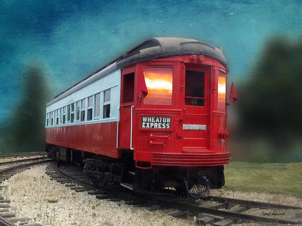 Cloud Cover Mixed Media - Wheaton Express Train Textured by Thomas Woolworth