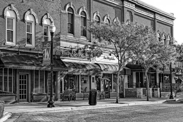 Photograph - Wheaton Front Street Store Fronts Black And White by Christopher Arndt