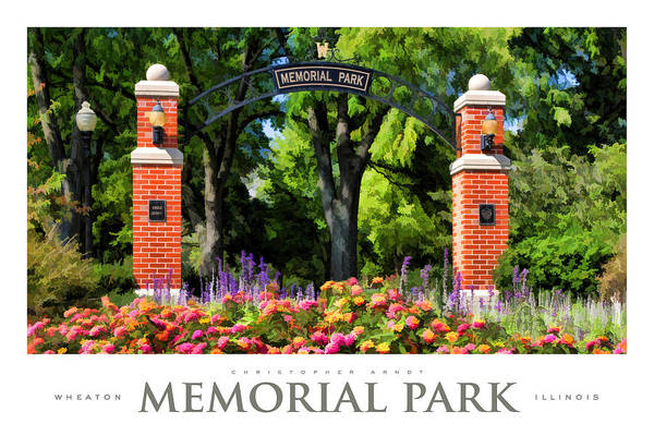 Zinnia Wall Art - Painting - Wheaton Memorial Park Poster by Christopher Arndt