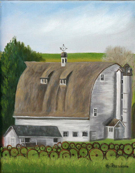 Silo Painting - Wheel Fence by Peterson, Julie