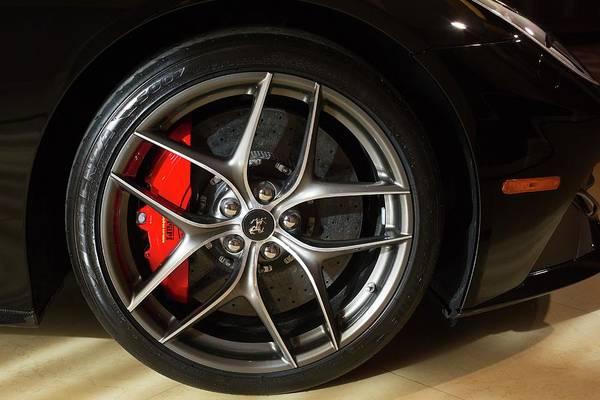 Detroit Auto Show Photograph - Wheel Of A Ferrari Berlinetta by Jim West