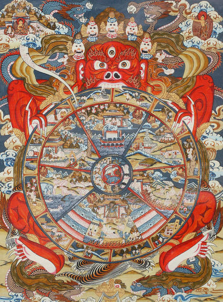 Tibetan Wall Art - Painting - Wheel Of Life Or Wheel Of Samsara by Unknown