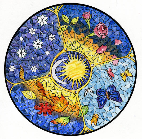Stained Glass Painting - Wheel Of The Year by Antony Galbraith