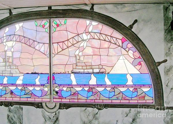 Painting - Memphis Riverboats Wheel Painted Around Stern Window by Lizi Beard-Ward