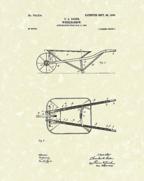 Cart Drawing - Wheelbarrow 1903 Patent Art by Prior Art Design