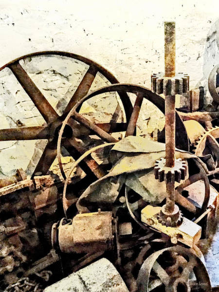 Photograph - Wheels And Gears In Grist Mill by Susan Savad