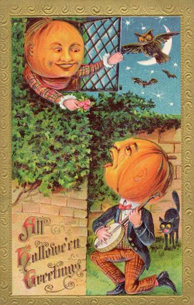 Early 20th Century Drawing - When A Gentleman Pumpkin  Serenades by Mary Evans Picture Library