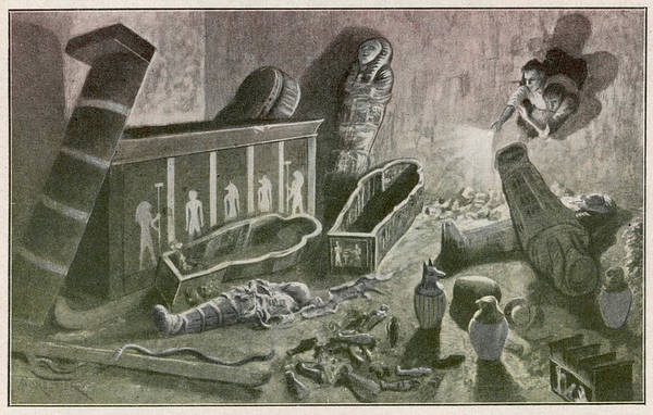Grave Robbers Wall Art - Drawing - When Archaeologists Discover A  Tomb by Mary Evans Picture Library