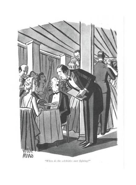 Drawing - When Do The Celebrities Start ?ghting? by Peter Arno