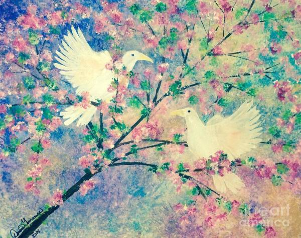 Painting - When Doves Fly by Denise Tomasura