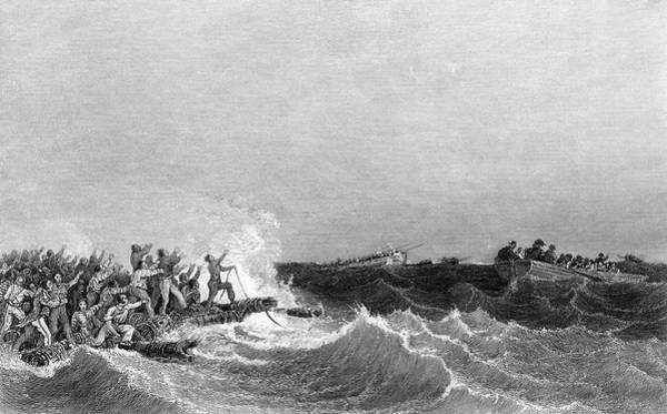 Wall Art - Drawing - When French Vessel Wrecks On  African by Mary Evans Picture Library