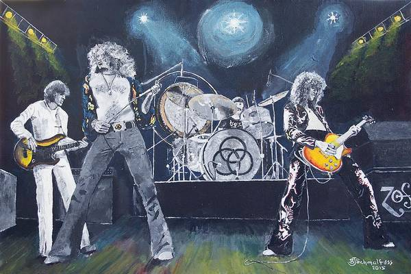 Rock Music Jimmy Page Wall Art - Painting - When Giants Rocked The Earth by Bruce Schmalfuss