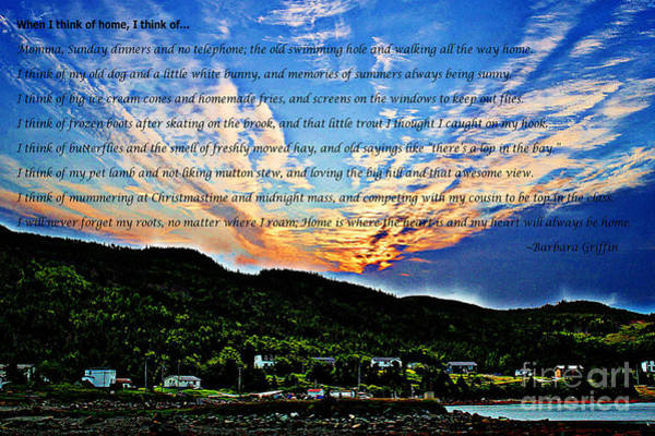 Growing Up Digital Art - When I Think Of Home Painterly Sky by Barbara Griffin