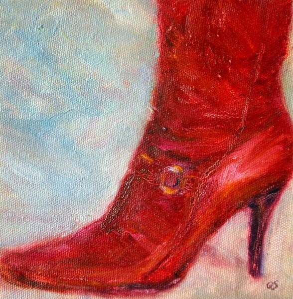 Painting - When In Doubt Wear Red - Boots - Fun Original Oil Painting by Quin Sweetman