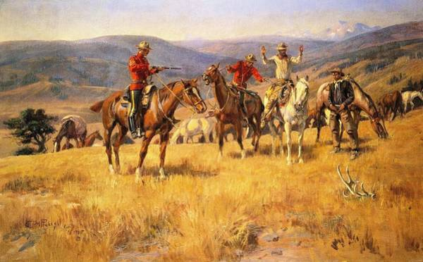 Mounted Digital Art - When Law Dulls The Edge Of Chance by Charles Russell