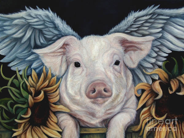 Pig Painting - When Pigs Fly by Lorraine Davis Martin