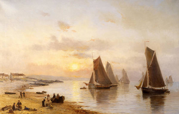 Sun Set Painting - When The Boats Come Home by Alexander Williams