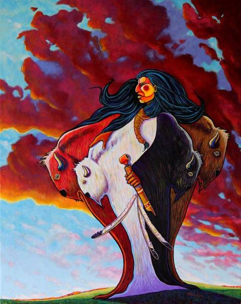 Wall Art - Painting - When The White Buffalo Woman First Appeared by Joe  Triano