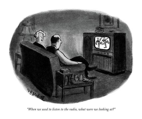 Television Program Wall Art - Drawing - When We Used To Listen To The Radio by Frank Modell