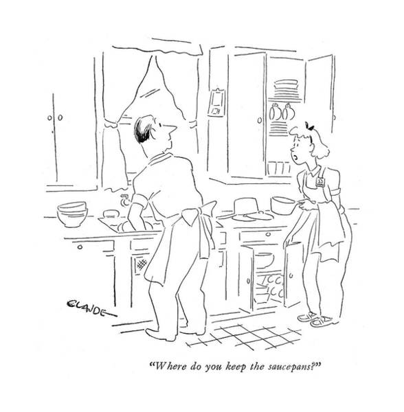 Mess Drawing - Where Do You Keep The Saucepans? by Claude Smith