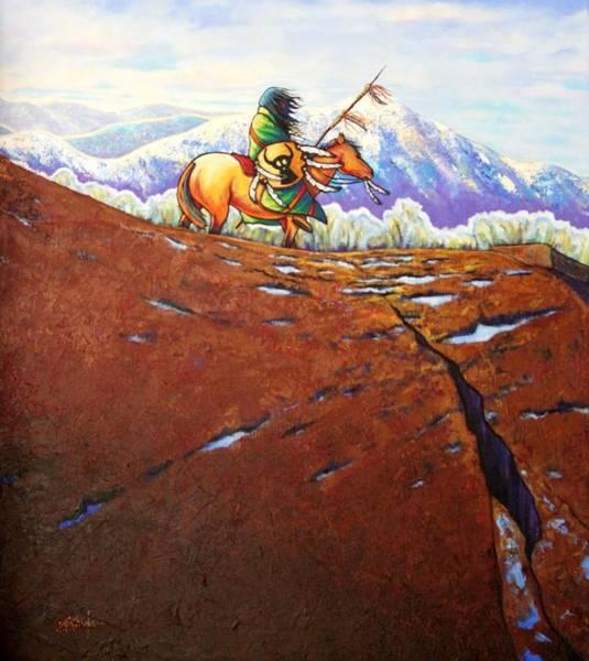 Native American Blanket Painting - Where Eagles Soar by Joe  Triano