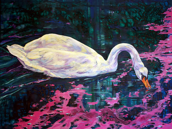 Trumpeter Swan Painting - Where Lilac Fall by Derrick Higgins