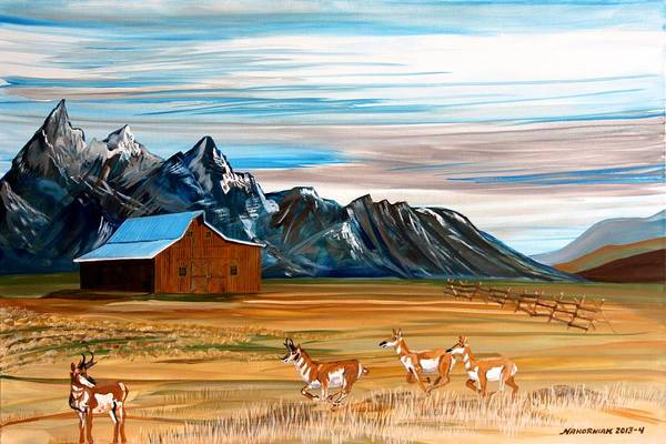 Barn Snow Painting - Where The Antelope Play by Mike Nahorniak