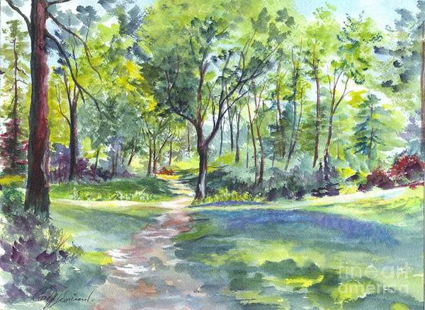 Floral Watercolor Drawing - Where The Bluebells Bloom by Carol Wisniewski