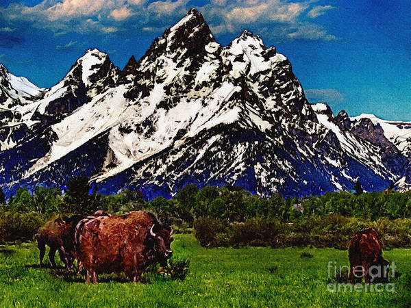 Painting - Where The Buffalo Roam by Bob and Nadine Johnston