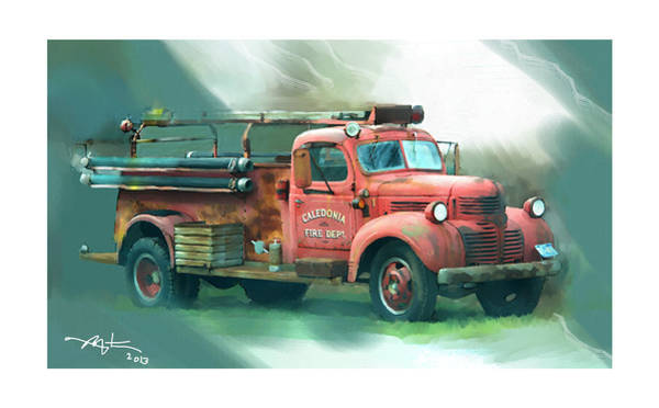 Vintage Fire Truck Painting - Where's The Fire by Bob Salo
