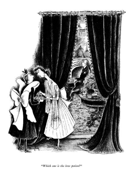 Maid Drawing - Which One Is The Love Potion? by Mary Petty
