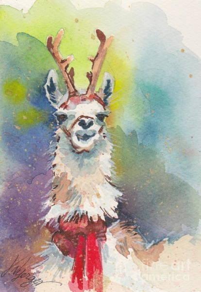 Alpaca Painting - Whidbey Island Reindeer by Judi Nyerges
