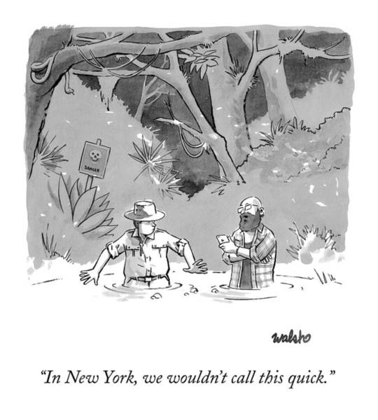 News Drawing - While Sinking In Quicksand Beside A Park Ranger by Liam Walsh