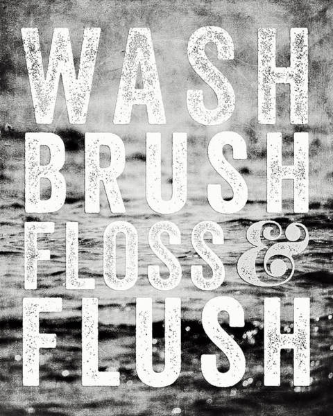 Bathroom Wall Art - Photograph - Whimsical Bathroom Decor Typography In Black And White  by Lisa Russo