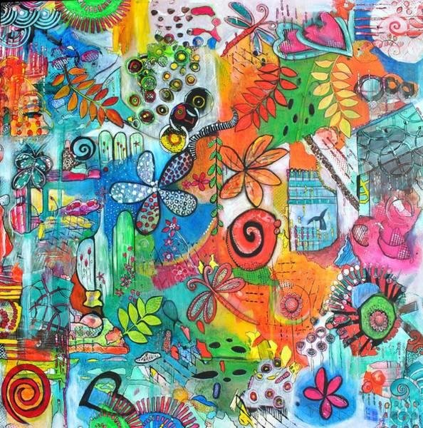 Mojo Painting - Whimsical Flower Power by Astrid Rosemergy