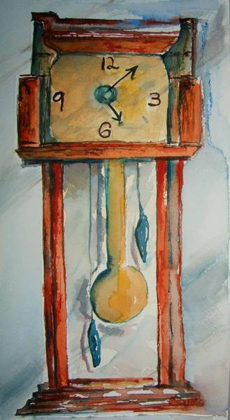 Grandfather Clock Painting - Whimsical Time Piece by Elaine Duras