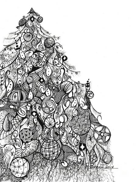 Evergreen Trees Drawing - Whimsical Tree by Ronda Breen