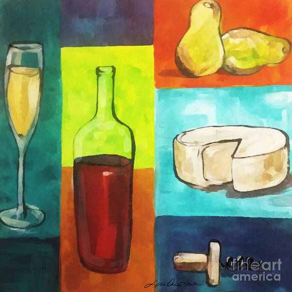 Painting - Whimsical Wine And Cheese by Lisa Owen-Lynch