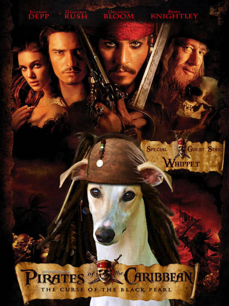 Whippet Wall Art - Painting - Whippet Art - Pirates Of The Caribbean The Curse Of The Black Pearl Movie Poster by Sandra Sij