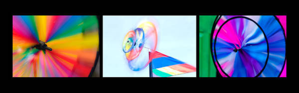 Wall Art - Photograph - Whirligig Tryptych Black Background by David Smith